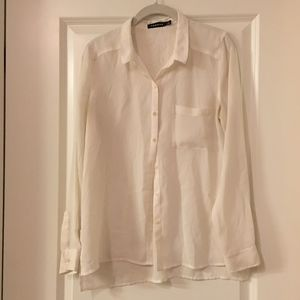 Trouve Single-Pocket Button-Up Cream Blouse
